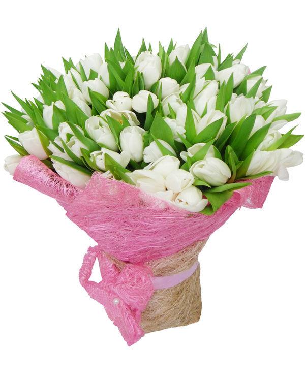 Букет из 55 тюльпанов<br>Ингредиенты: Лента атлас 1 шт, Тюльпан 55 шт;