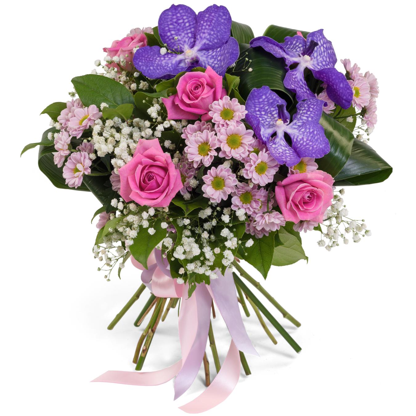 Авторский букет цветов Первое свидание<br>Ингредиенты: Аспидистра 3 шт, Орхидея ванда синяя 3 шт, Гипсофила 1 шт, Салал, Хризантема сантини 5 шт, Роза (50 см) 5 шт;