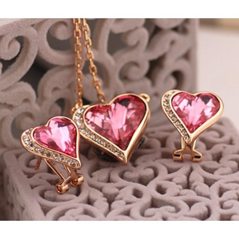 Комплект Влюбленные сердца с кристаллами Сваровски<br>