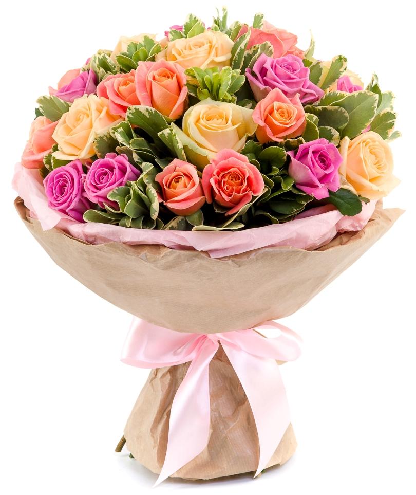 Трепетные чувства<br>Ингредиенты: Питтоспорум, Роза (50 см) 27 шт, Оформление 1 шт;