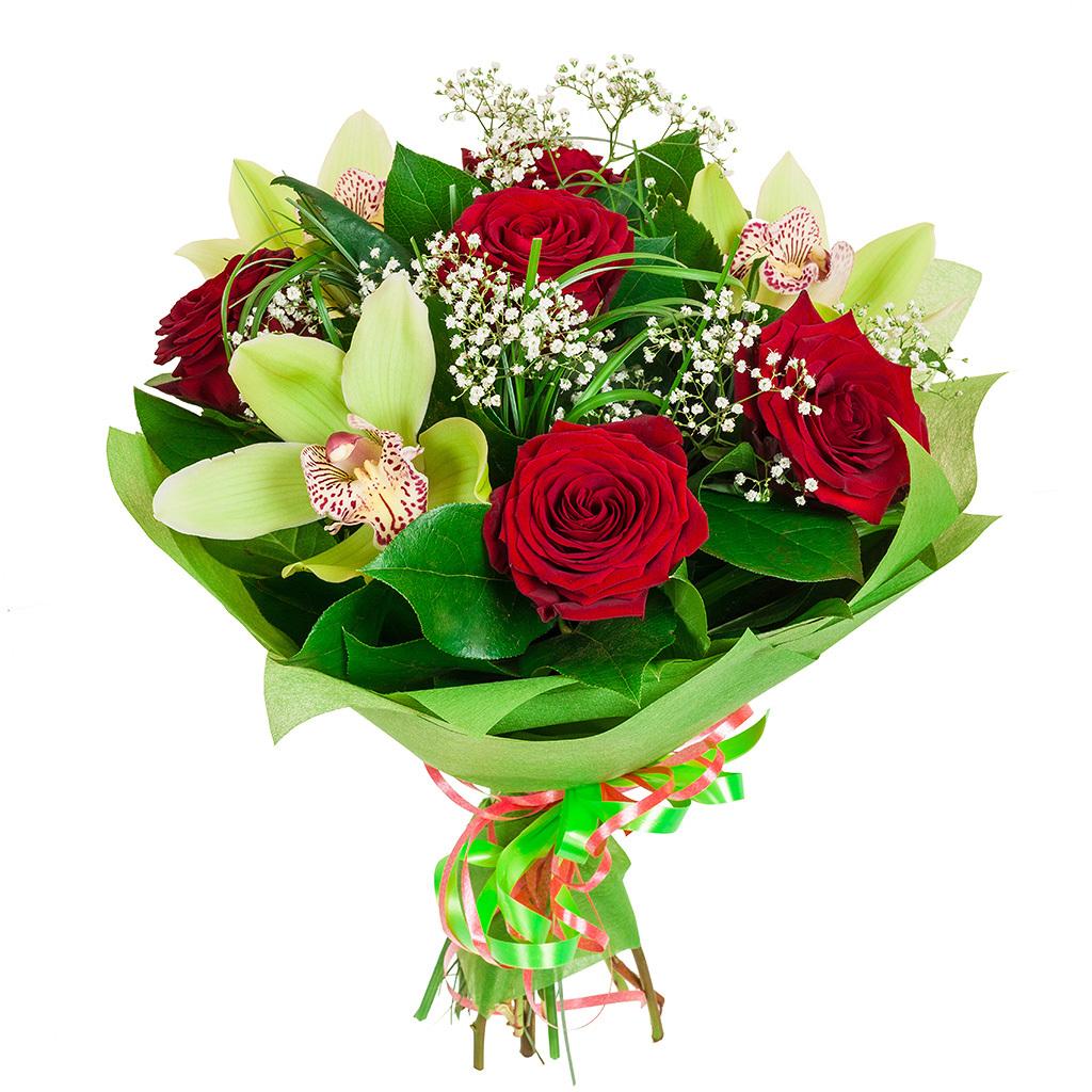 Авторский букет цветов Виктория<br>Ингредиенты: Берграсс, Гипсофила 1 шт, Салал, Цимбидиум 3 шт, Роза (50 см) 5 шт;