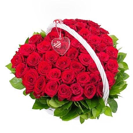 Я влюблен<br>Ингредиенты: Салал 1 шт, Оазис 2 шт, Корзина средн. 1 шт, Роза (50 см) 51 шт;