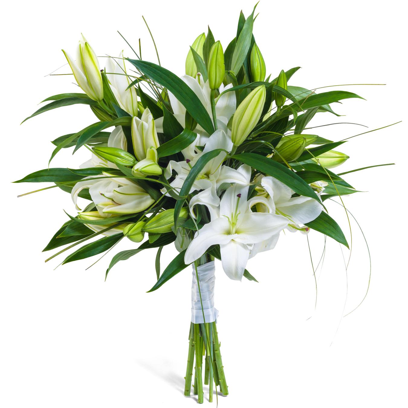 Букет из ветки лилии, букет невесты шаровые