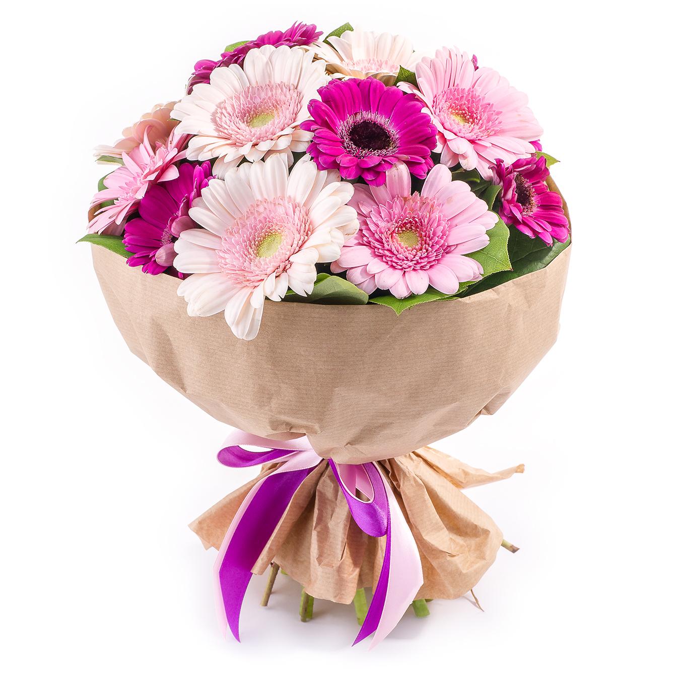 Авторский букет цветов Малинка<br>Ингредиенты: Гербера мини 11 шт, Салал, Крафт 1 шт;
