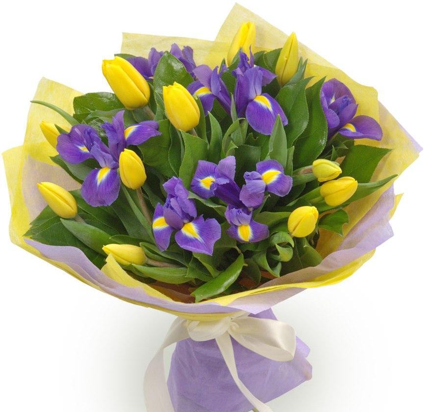 Весенний<br>Ингредиенты: Ирис 6 шт, Салал, Тюльпан 11 шт, Оформление 1 шт;