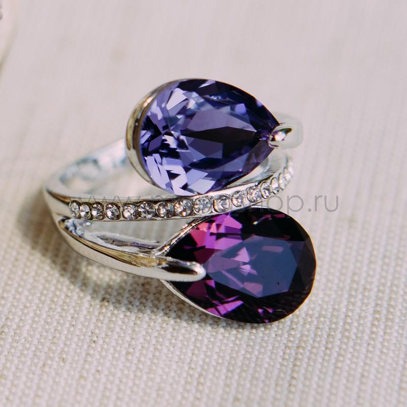 Кольцо Дуэт с фиолетовыми кристаллами Сваровски<br>