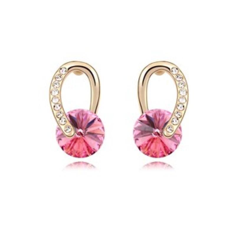 Серьги Золотые подковы с розовыми камнями Сваровски<br>
