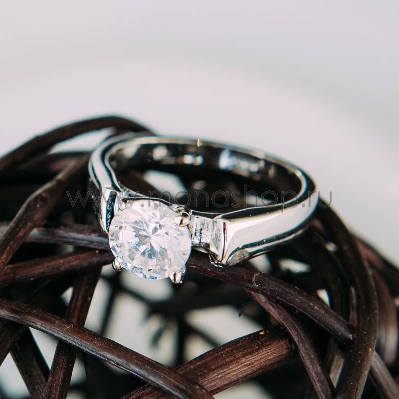 Кольцо Будь моей с белым цирконием<br>