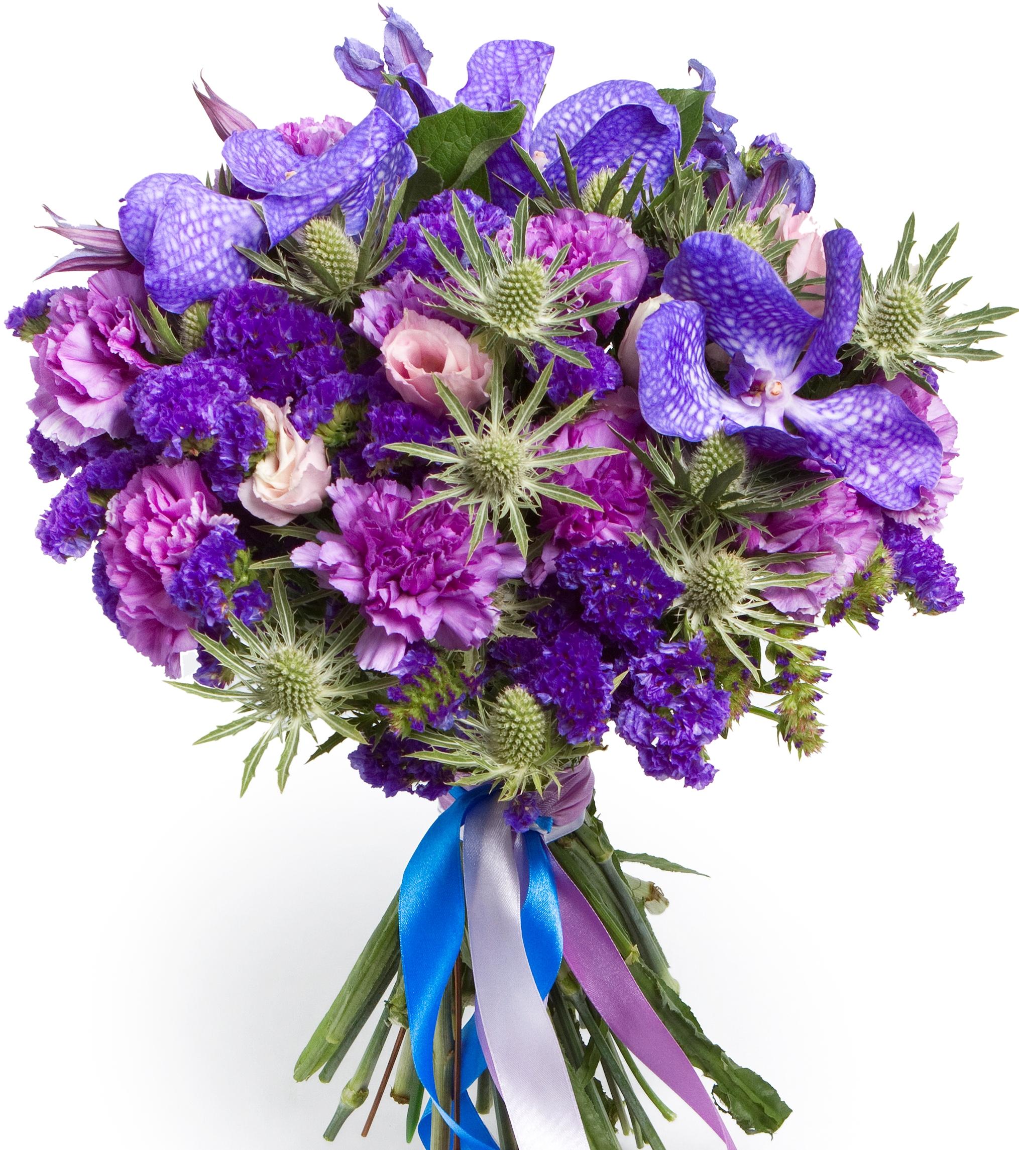 Ультрамарин<br>Ингредиенты: Орхидея ванда синяя 3 шт, Статица 5 шт, Гвоздика 10 шт, Эустома 3 шт, Эрингиум 4 шт, Клематис 2 шт, Эвкалипт;