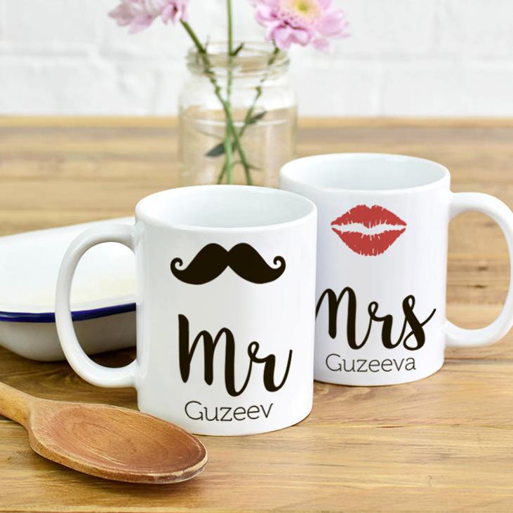 Парные кружки Мистер и Миссис Усы и Губы1<br>