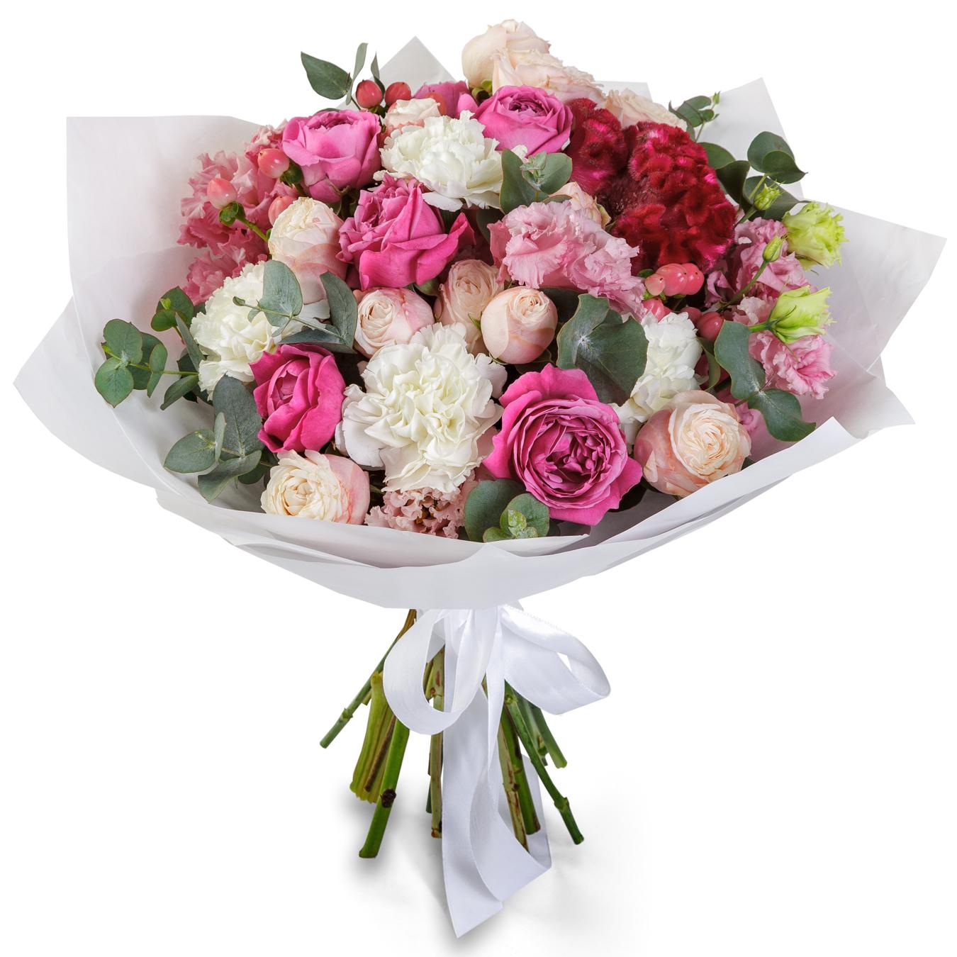 Авторский букет цветов Офелия<br>Ингредиенты: Гвоздика 4 шт, Гиперикум 3 шт, Эвкалипт, Эустома 3 шт, Роза пионовидная 5 шт, Крафт 1 шт, Целозия 1 шт;