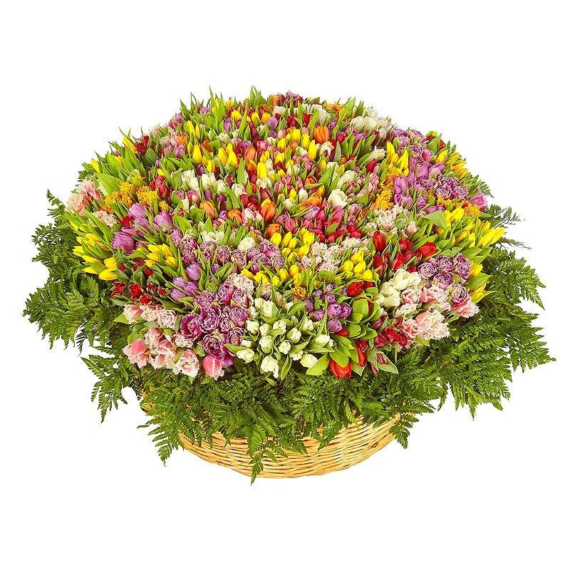 Корзина 1001 тюльпан<br>Ингредиенты: Тюльпан 1 001 шт, Корзина 1 шт;