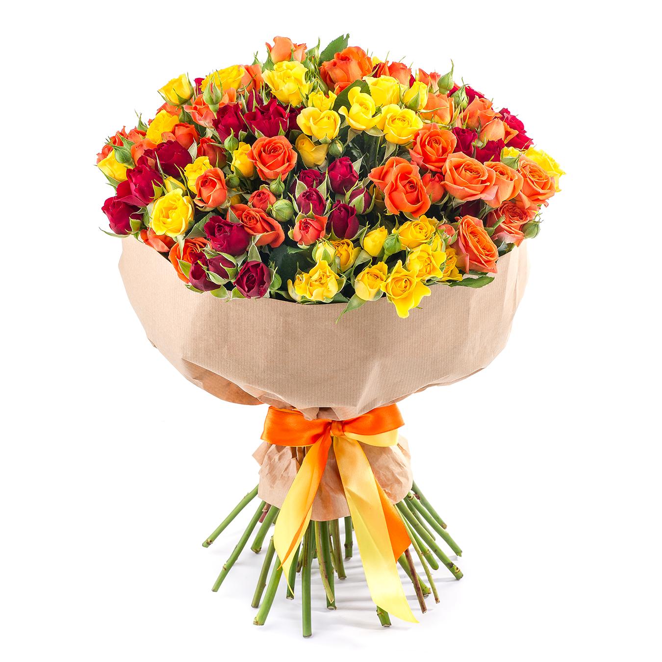 Осеннее ассорти<br>Ингредиенты: Роза кустовая 29 шт, Салал 1 шт, Крафт 1 шт;