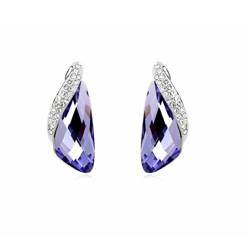 Серьги Кристаллы фиолетового цвета с инкрустированной вставкой<br>