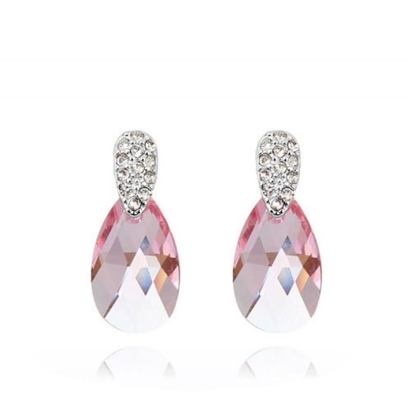 Серьги Слеза Афродиты с розовыми кристаллами Сваровски<br>
