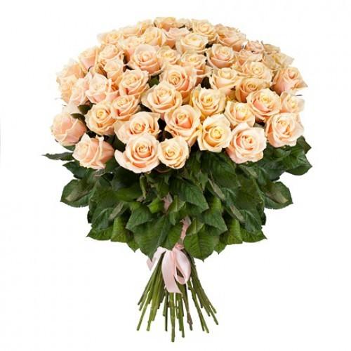 Букет из 51 розы (50см)<br>Ростовка: 50, 60, 70, 80; Состав букета: Розовая роза, Оранжевая роза, Белая роза, Желтая роза, Красная роза, Малиновая роза, Коралловая роза, Кремовая роза;