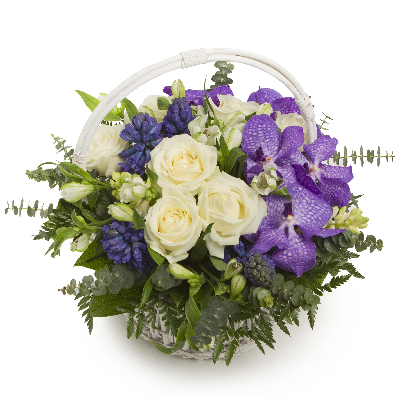 Лунная соната<br>Ингредиенты: Орхидея ванда синяя 5 шт, Салал, Оазис 1 шт, Эвкалипт, Корзина мал. 1 шт, Роза (50 см) 7 шт, Гиацинт 6 шт, Альстромерия 4 шт;