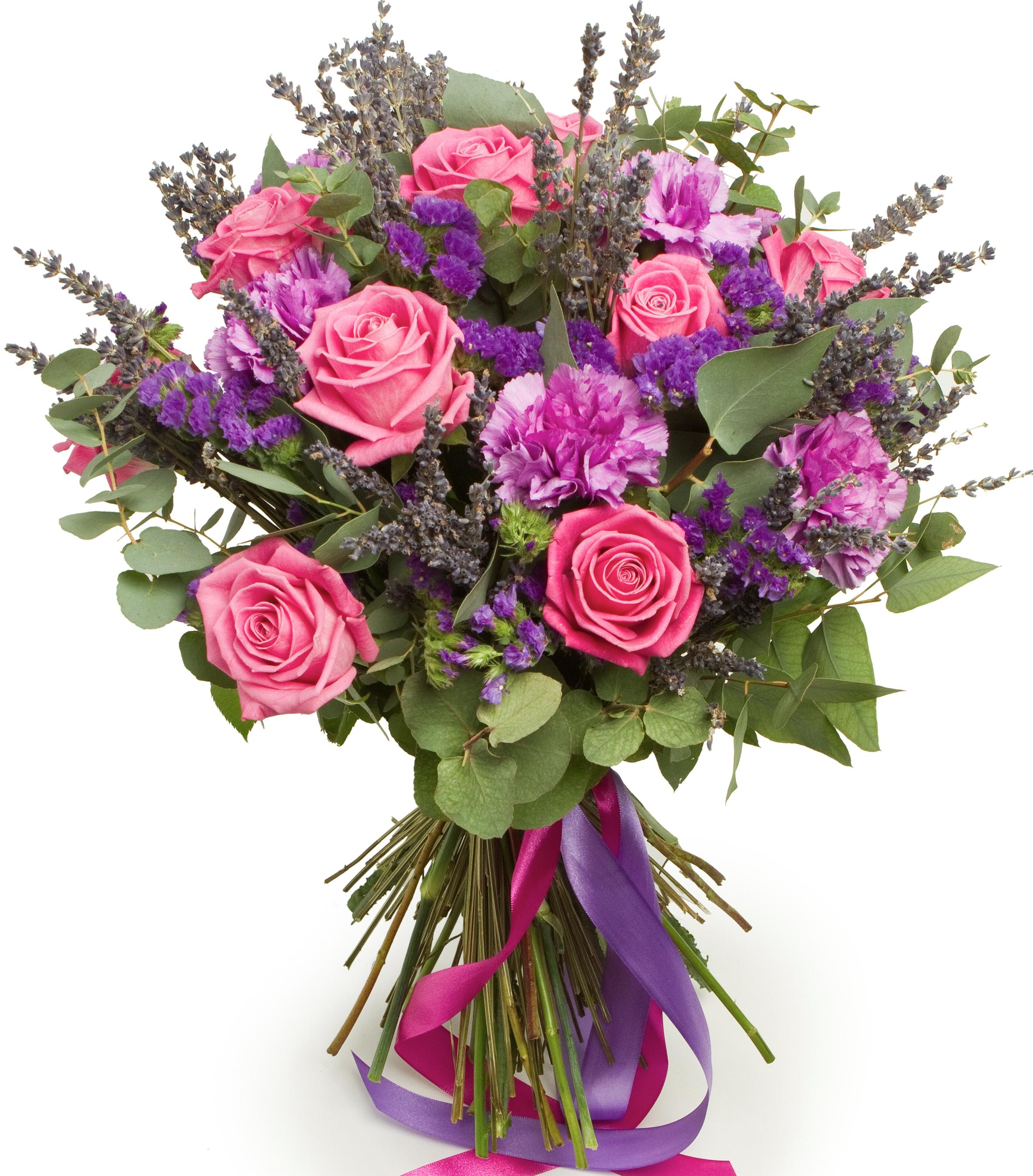 Авторский букет цветов Ночь в Париже<br>Ингредиенты: Гвоздика 7 шт, Лаванда 1 шт, Статица 4 шт, Эвкалипт 1 шт, Роза (50 см) 11 шт;