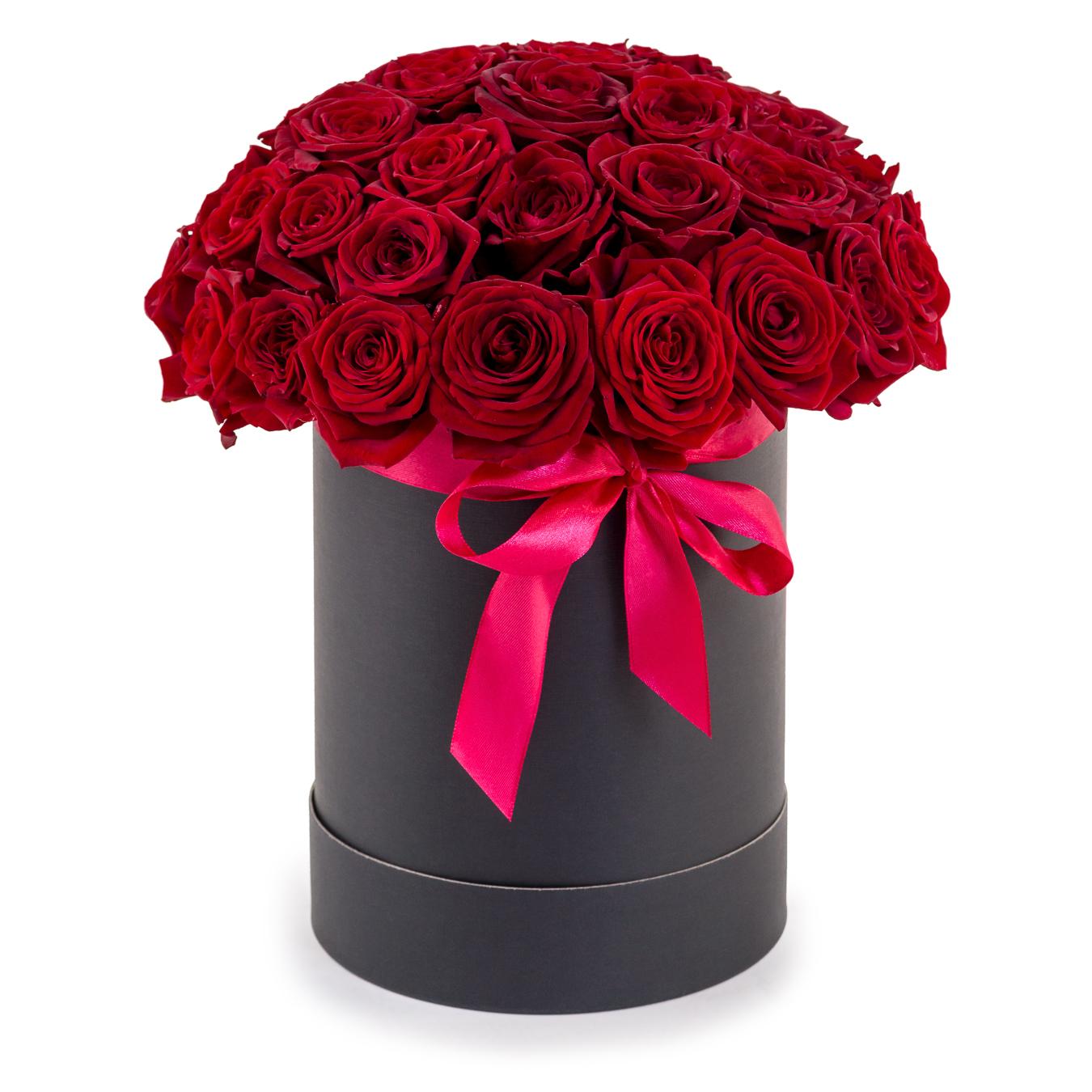 Антрацит<br>Ингредиенты: Оазис 2 шт, Роза (50 см) 39 шт, Коробка флобокс 1 шт;