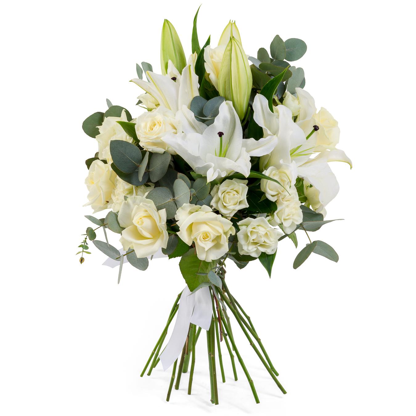 Авторский букет цветов Волшебной Девушке<br>Ингредиенты: Лилия  3 шт, Эвкалипт, Роза (50 см) 11 шт;