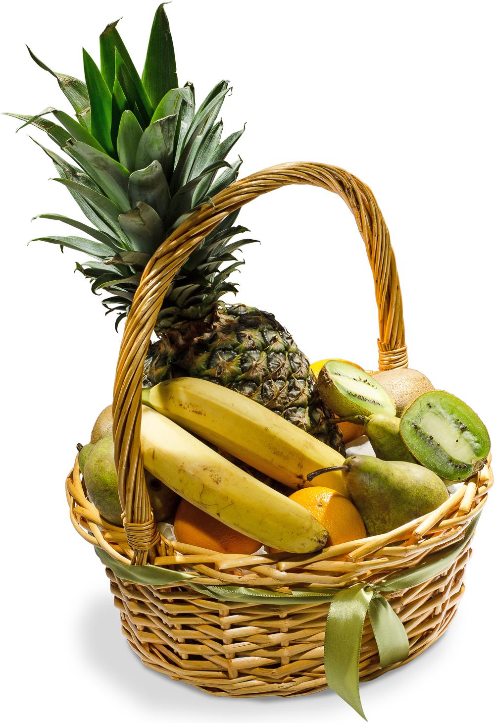Ананас и бананы<br>Ингредиенты: Корзина средн. 1 шт, Апельсин 4 шт, Ананас 1 шт, Банан 2 шт, Груша 3 шт, Киви 4 шт;