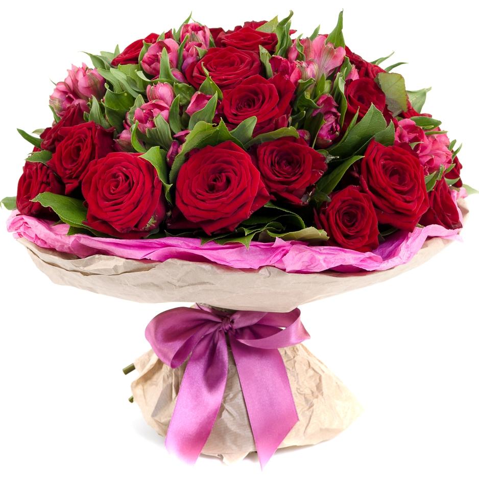 Авторский букет цветов Привет Любимой максимальный<br>Ингредиенты: Альстромерия 8 шт, Салал 1 шт, Роза (50 см) 31 шт, Оформление 1 шт;