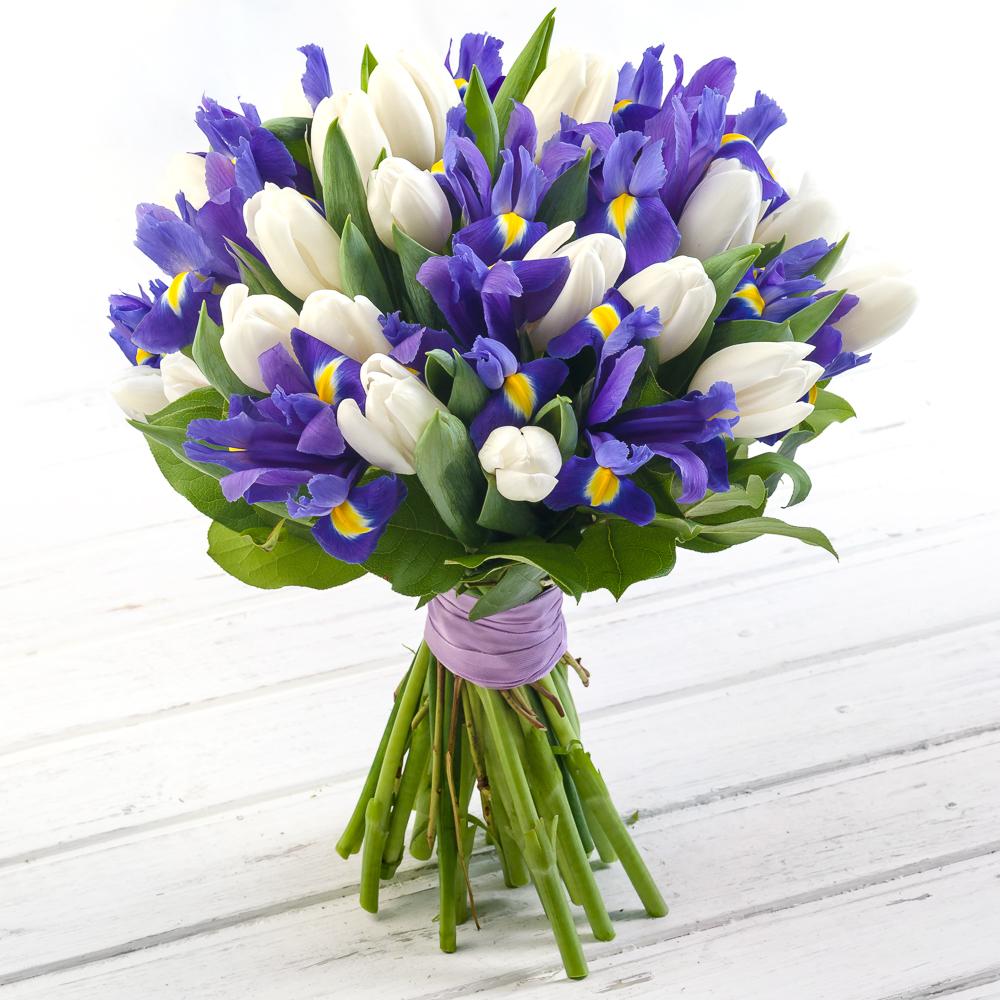 Свадебные букеты из 9 тюльпанов и ирисов, красивый