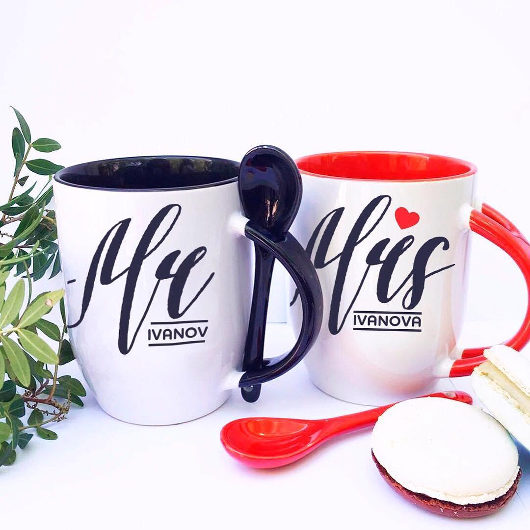 Чашки Мистер и Миссис с ложечкой1<br>