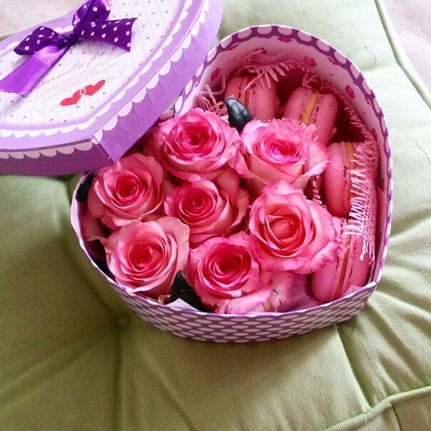 Сердце из роз и макарони<br>