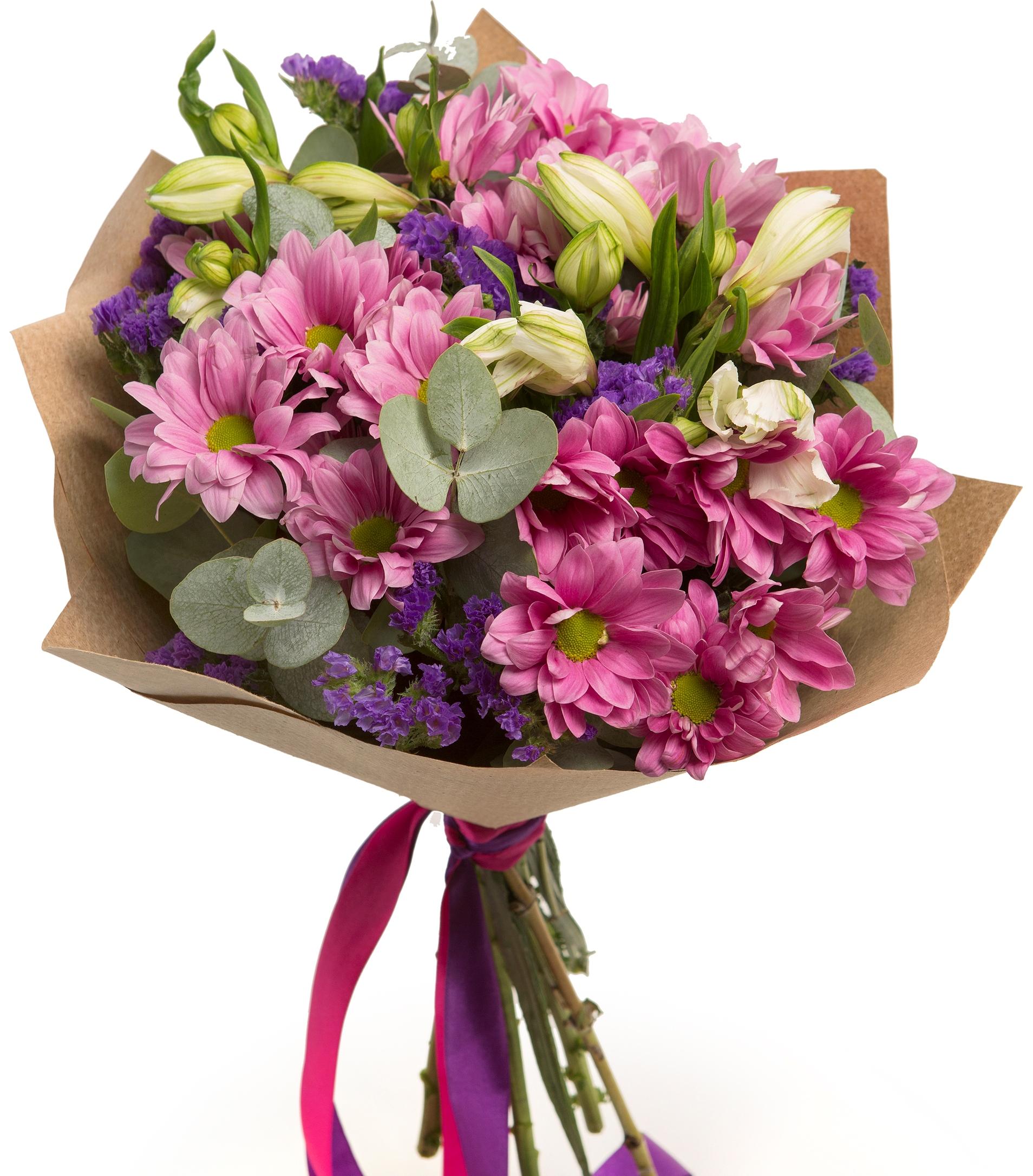 Авторский букет цветов МаркизаХризантемы<br><br>Ингредиенты: Альстромерия 2 шт, Статица 2 шт, Хризантема кустовая 3 шт, Эвкалипт, Крафт 1 шт;