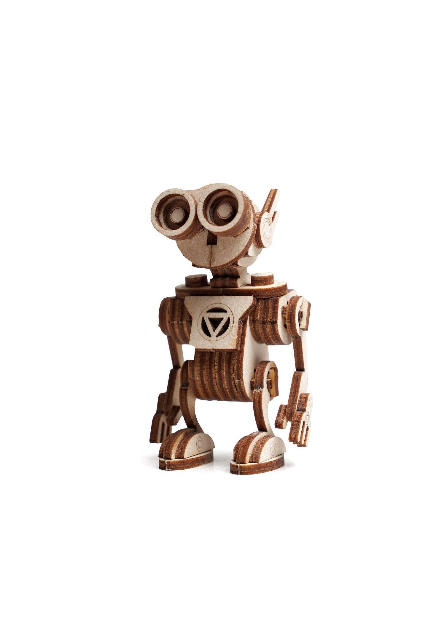 Конструктор 3D деревянный подвижный Lemmo Робот Санни<br>