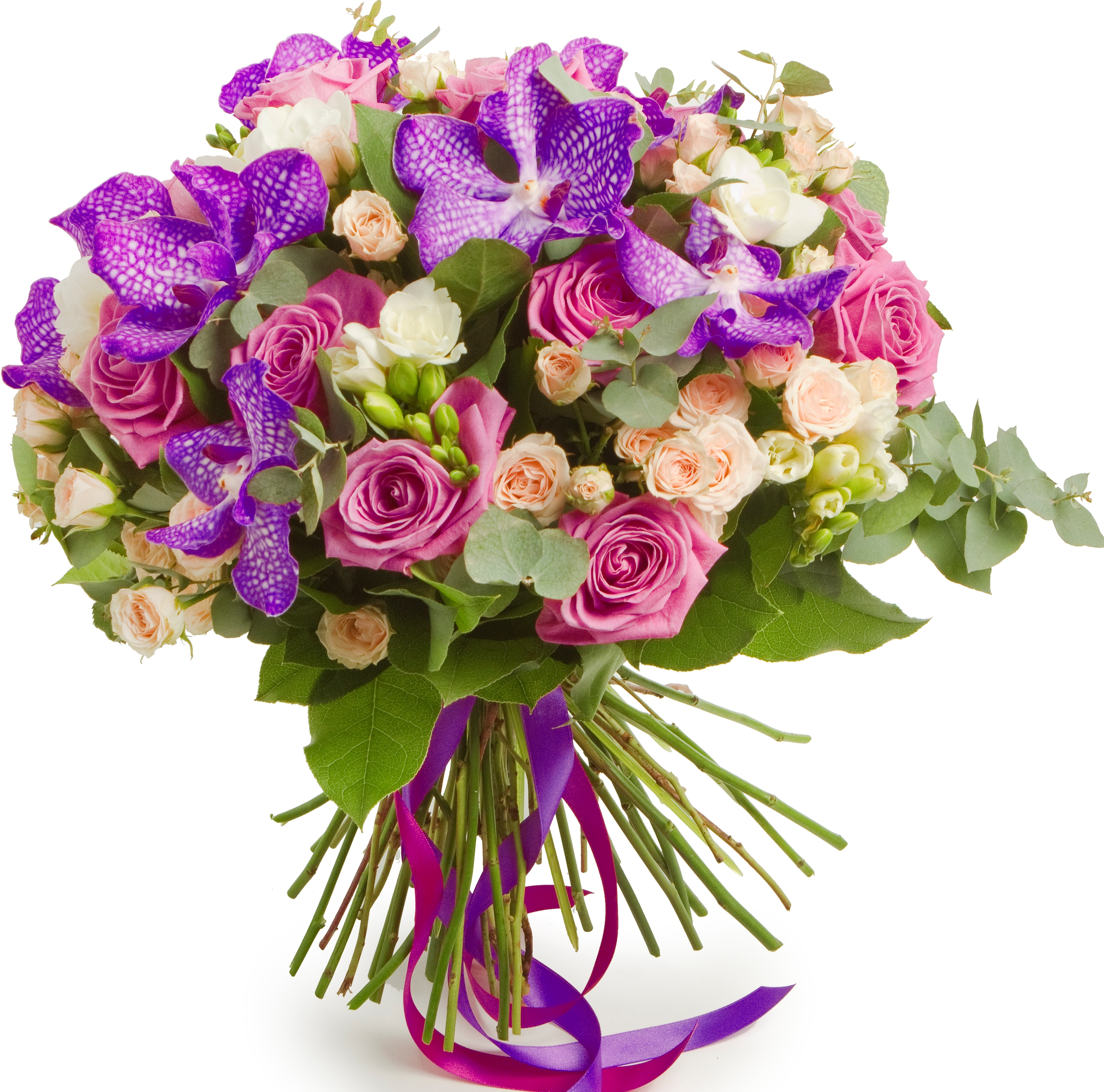 Авторский букет цветов Пандора<br>Ингредиенты: Орхидея ванда синяя 7 шт, Роза кустовая 10 шт, Салал, Фрезия 10 шт, Эвкалипт, Роза (50 см) 10 шт;