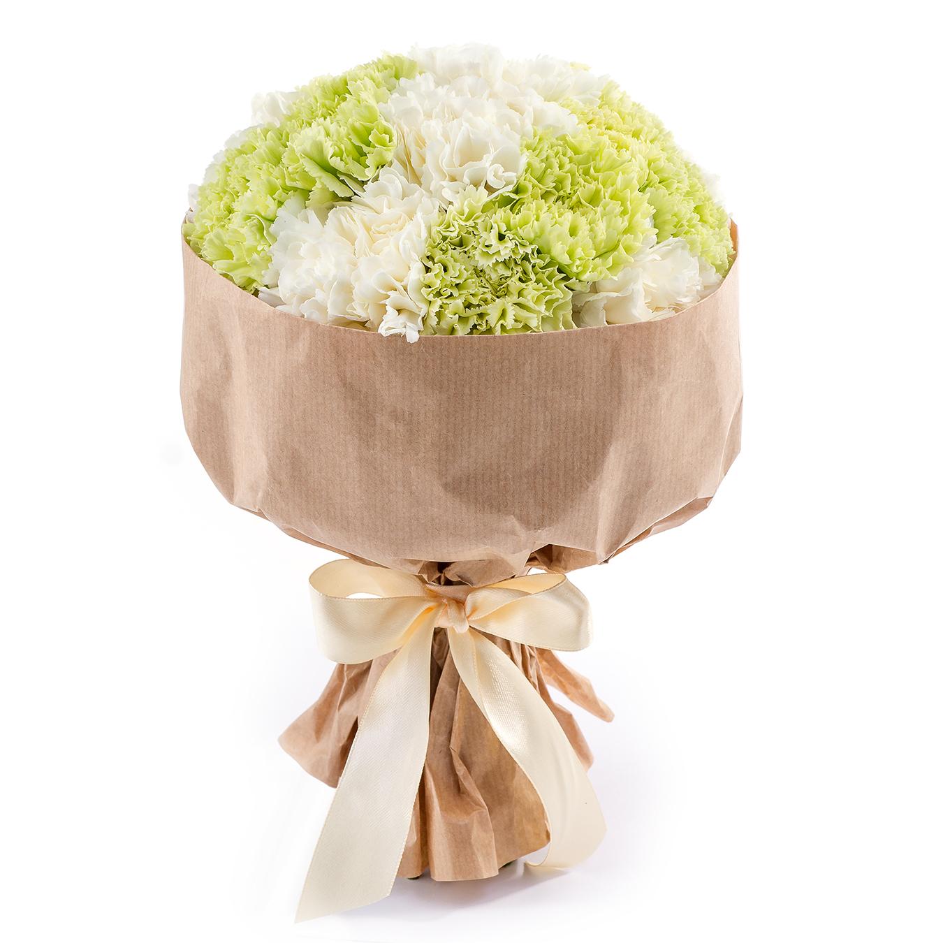Авторский букет цветов Наливное яблочко<br>Ингредиенты: Гвоздика 11 шт, Крафт 1 шт;