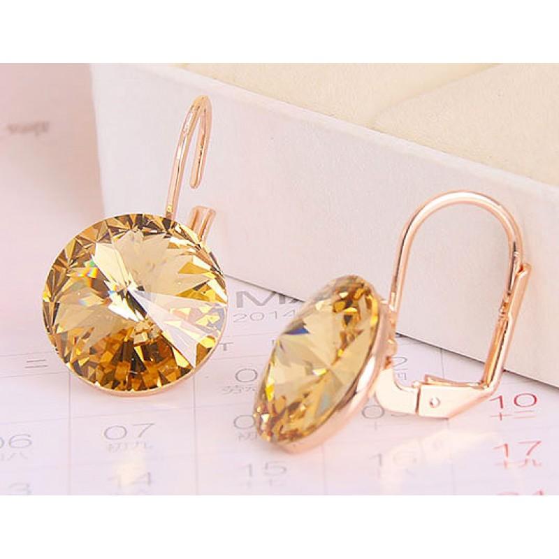 Серьги Чародейка с желтыми кристаллами Сваровски<br>