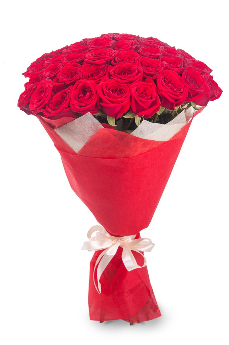 Букет из 55 роз (60см)<br>Ростовка: 50, 60, 70, 80; Состав букета: Розовая роза, Оранжевая роза, Белая роза, Желтая роза, Красная роза, Малиновая роза, Коралловая роза, Кремовая роза, MIX из роз;