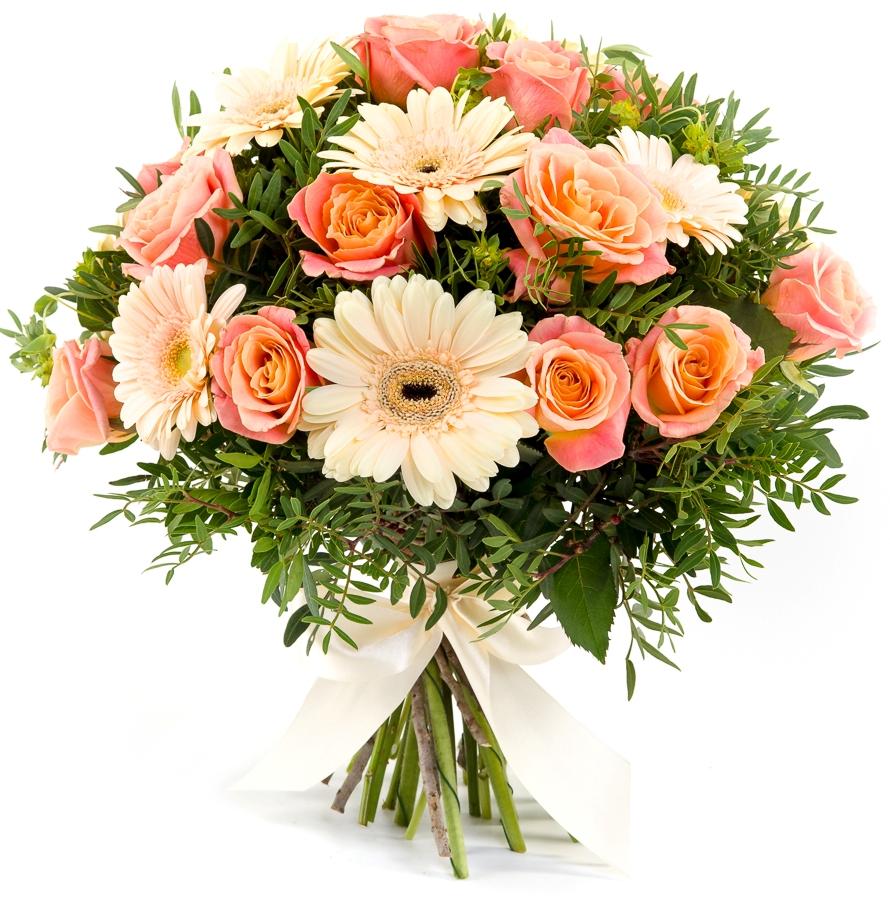 Букеты из герберов и роз