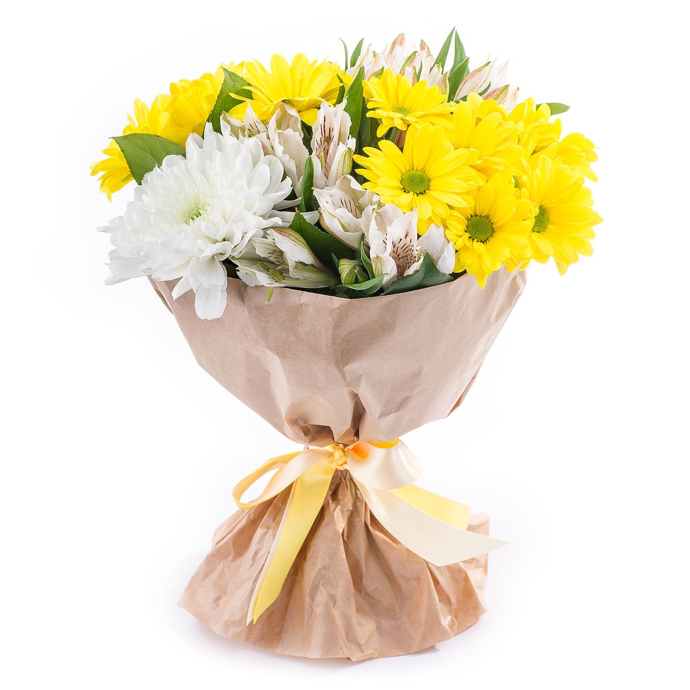 Авторский букет цветов Смайлик<br>Ингредиенты: Альстромерия 3 шт, Салал, Хризантема кустовая 2 шт, Хризантема 1 шт, Крафт 1 шт;