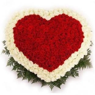 Сердце из 251 розы<br>Состав букета: Розовая роза, Оранжевая роза, Белая роза, Желтая роза, Красная роза, Малиновая роза, Коралловая роза, Кремовая роза; Ингредиенты: Роза (60 см) 251 шт, Папоротник 1 шт, Салал 1 шт, Оазис 5 шт;