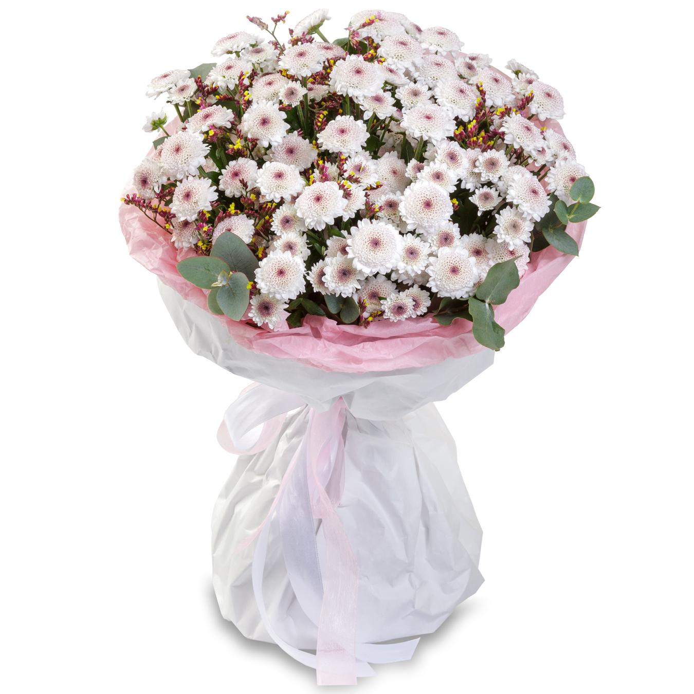 Авторский букет цветов ГрасХризантемы<br><br>Ингредиенты: Лимониум 2 шт, Хризантема сантини 11 шт, Эвкалипт, Крафт 1 шт;