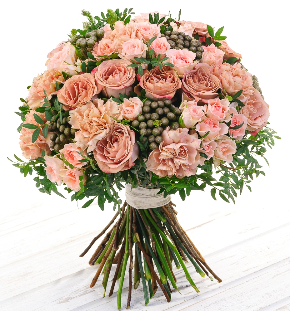 Авторский букет цветов Капучино<br>Ингредиенты: Бруния  7 шт, Гвоздика 10 шт, Писташ 1 шт, Роза кустовая 10 шт, Роза Голландия 10 шт;