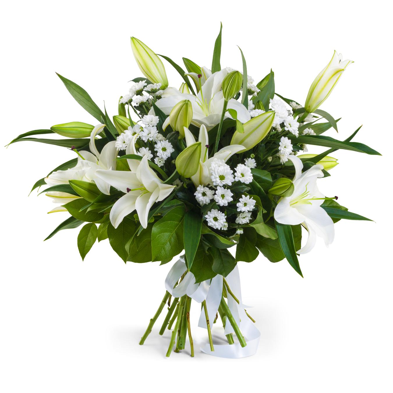 Снежная Королева<br>Ингредиенты: Салал, Хризантема сантини 6 шт, Лилия  5 шт;