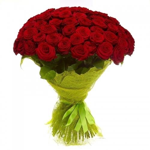 Букет из 61 розы (60см)<br>Ростовка: 50, 60, 70, 80; Состав букета: Розовая роза, Оранжевая роза, Белая роза, Желтая роза, Красная роза, Малиновая роза, Коралловая роза, Кремовая роза;