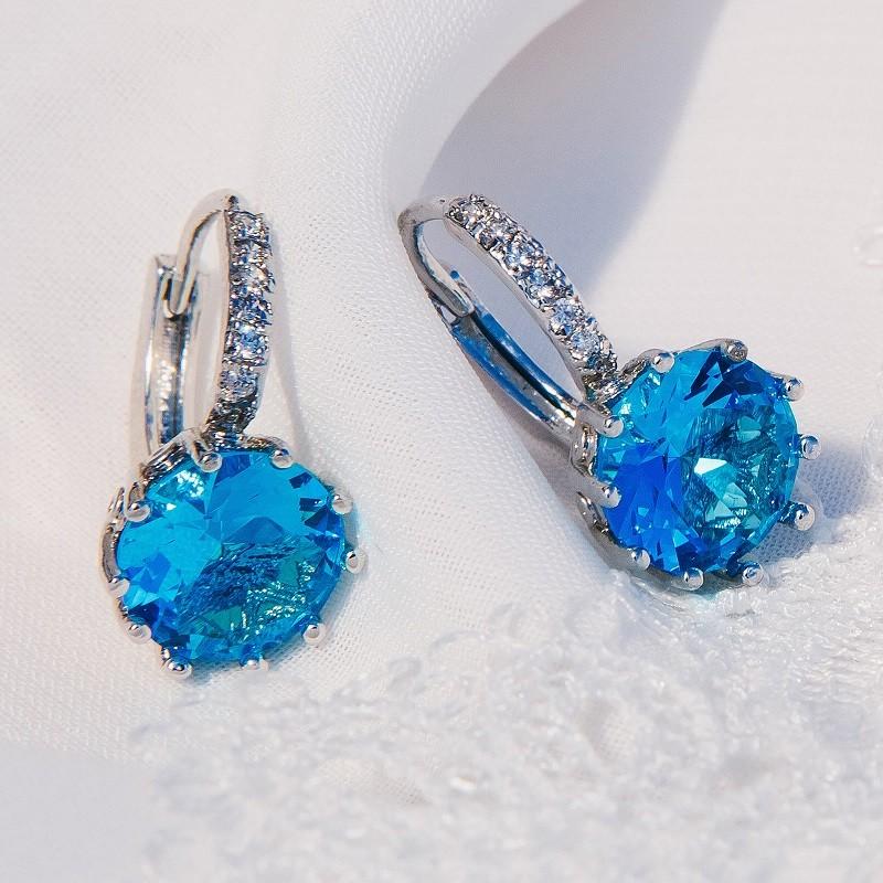 Серьги Аврора с голубым цирконием<br>
