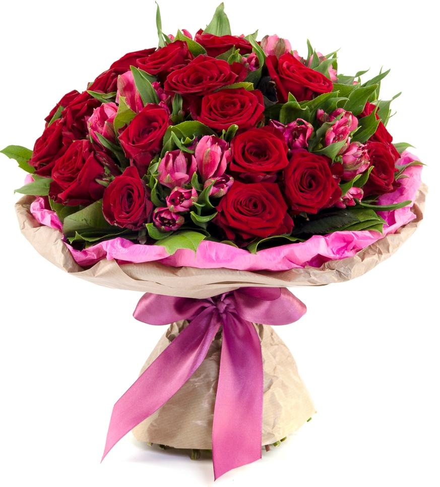 Привет Любимой<br>Ингредиенты: Оформление 1 шт, Альстромерия 6 шт, Салал, Роза (50 см) 21 шт;