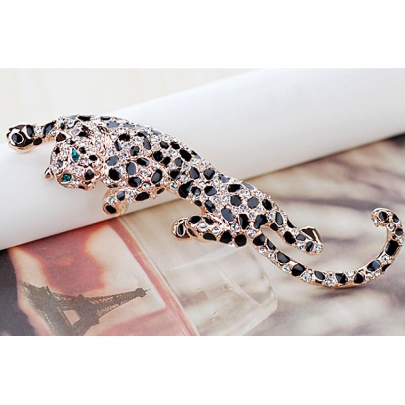 Брошь Леопард с эмалью и австрийскими кристаллами<br>