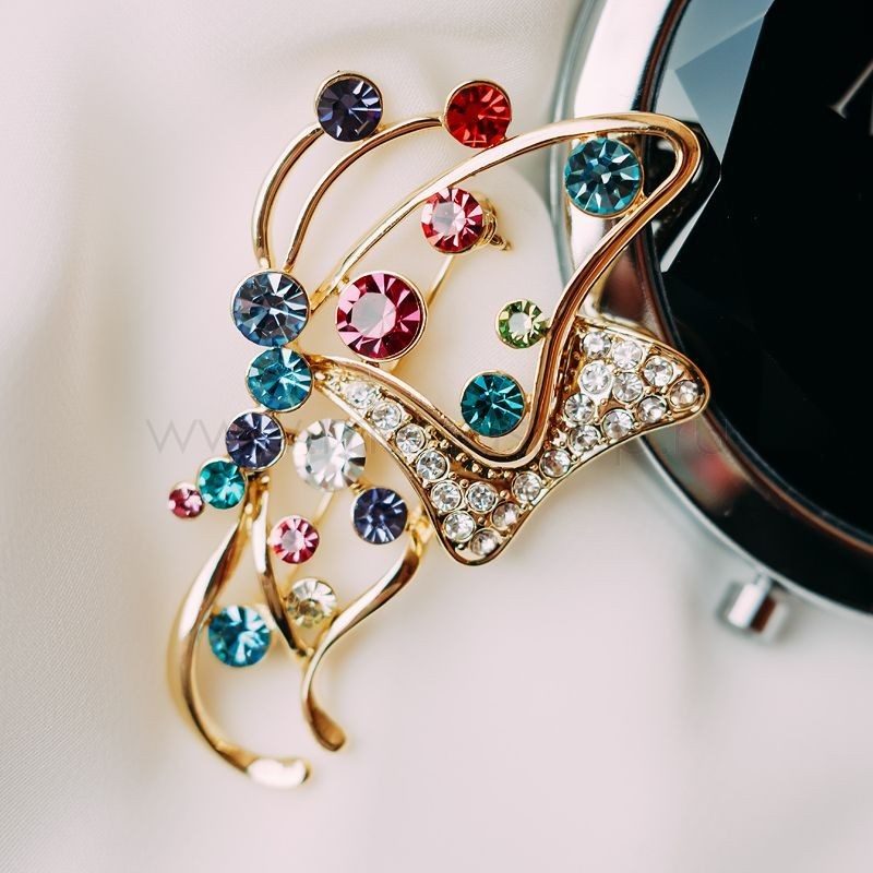 Брошь Яркая бабочка с разноцветными кристаллами Сваровски<br>