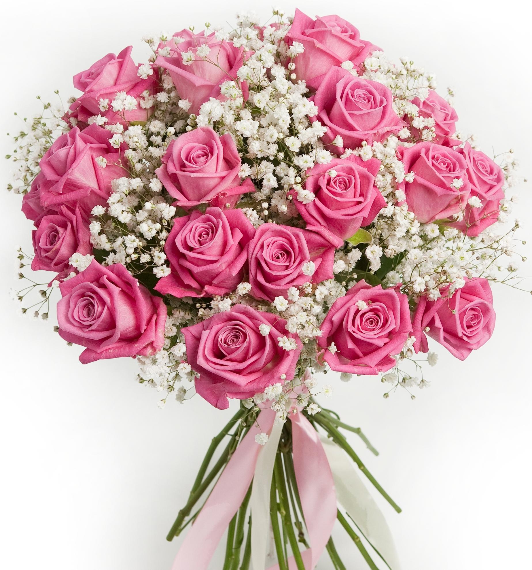 Мечта<br>Ингредиенты: Роза (50 см) 25 шт, Гипсофила 6 шт;