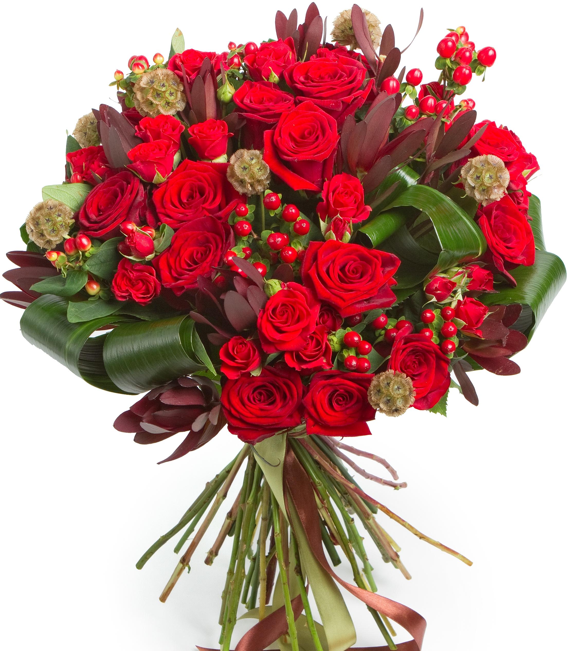Кармен<br>Ингредиенты: Роза (60 см) 15 шт, Аспидистра 5 шт, Скабиоза 7 шт, Леукадендрон 3 шт, Гиперикум 5 шт, Роза кустовая 10 шт;