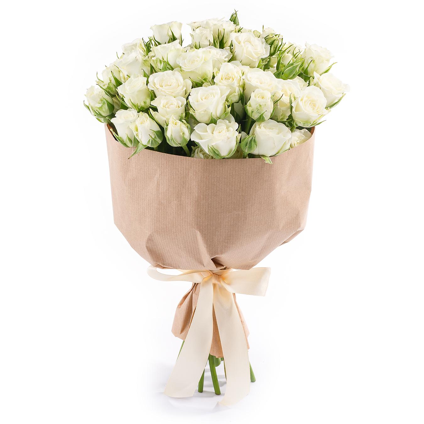 Букет из 11 кустовых роз<br>Ингредиенты: Роза кустовая 11 шт, Салал, Крафт 1 шт;