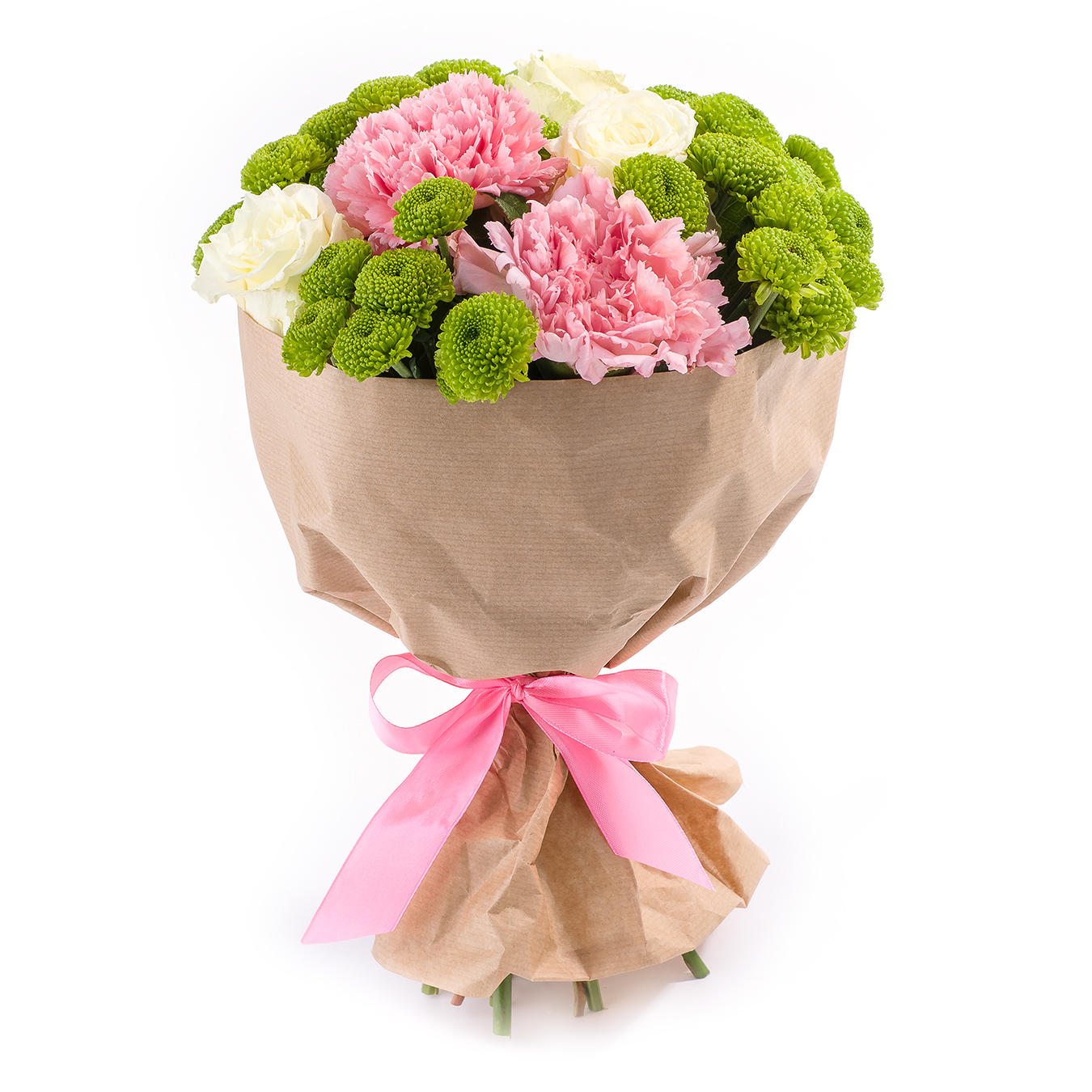 Яблоневый сад<br>Ингредиенты: Роза кения 3 шт, Гвоздика 2 шт, Хризантема сантини 3 шт, Салал, Крафт 1 шт;
